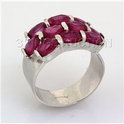 31.41CTW Pink Ruby Cluster Design Silver Ring