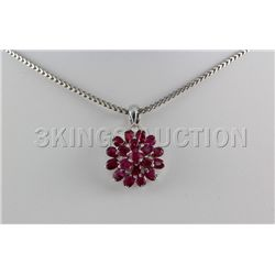 17.25CTW Ruby Flower Design Silver Pendant