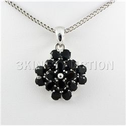 Cluster Sapphire 20.50CTW Sterling Silver Pendant