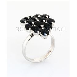 Cluster Sapphire 28.16CTW Sterling Silver Ring