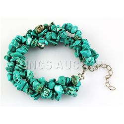 209.75CTW 7in. BLUE TURQUOISE CHIPPED BRACELET METAL LO