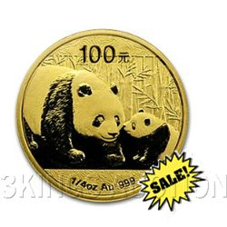 Chinese Gold Panda Quarter Ounce 2011