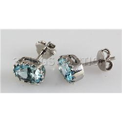 Simple 9.41CTW Stud Blue Zircon Silver Earring