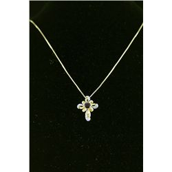 Sterling Gold Garnet Crucifix