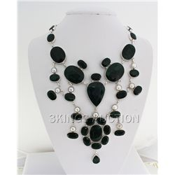 One of a Kind 1032.50ctw Emerald Beryl Silver Necklace