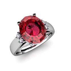 Garnet 5.00 ctw & Diamond Ring 14kt White Gold