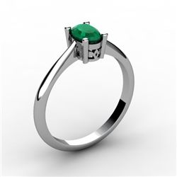 Emerald 0.52 ctw Ring 14kt White Gold