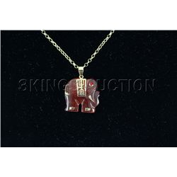 28.69ctw Charming Red Jade Elephant Pendant