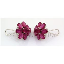 Beautiful 51.30CTW Flower Pink Ruby Silver Earring