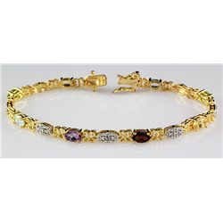 Sterling Gold 6.2 Multi Stone Bracelet