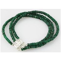 65.01ct 3 Row Natural Emerald Faceted Bracelet