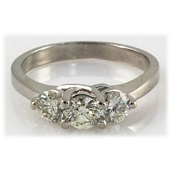 Genuine 1.80 ctw Diamond 3-Stone Ring 14K WG H, SI2/SI3