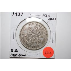 1937 Great Britain Half Crown Foreign Coin; .2273 ASW; EST. $10-20