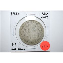 1920 Great Britain Half Crown Foreign Coin; .2273 ASW; EST. $10-20