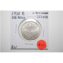1938-B German 2 Deutsche Mark Foreign Coin With Flying Eagle Holding Swatstika; BU; Silver; EST. $20