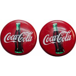 Lot Of 2 Coca Cola Tin Button Signs