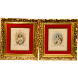 Lot of 2 Engravings of Ladies: