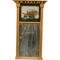 Trumeau Mirror w/ Reverse Painting of Ships on Glass, O
