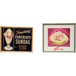 Lot of 2 Fairmont Ice Cream Signs in Wood Frames w/ Gla