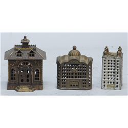 Lot Of 3 Early Cast-Iron Still Bank Buildings:
