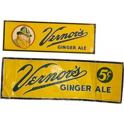 Lot Of 2 Vernor's Ginger Ale Signs: