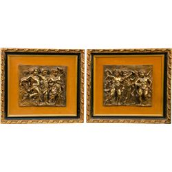 Lot of 2 Bronze Plaques Mounted in Matching Frames