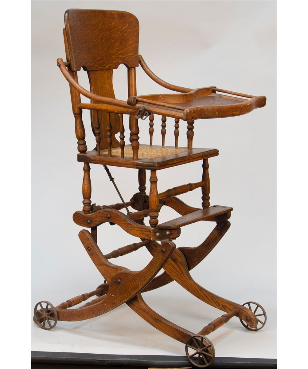 - Antique Oak Convertible Baby's Highchair/Rocker