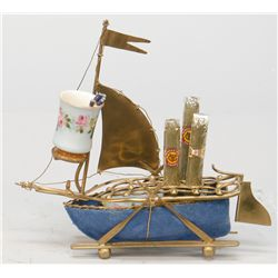 Antique Brass & Porcelain Figural Boat Counter Cigar/