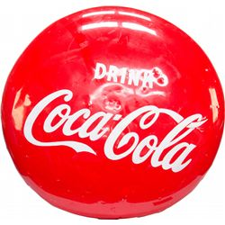 "Drink Coca-Cola Porcelain Button Sign, Red - 36"" diamet"