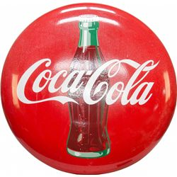 Coca-Cola w/Bottle Picture Porcelain Button Sign, Red -