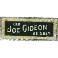 Old Joe Gideon Reverse On Glass, Scalloped Edges Sign