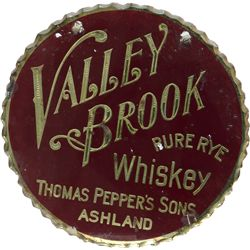 Valley Brook Pure Rye Whiskey Round, Reverse On Glass,