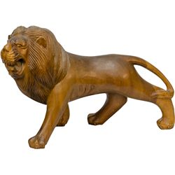 Wood Carved Figural Lion Statue