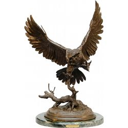 "Bronze Owl on Green Marble Base w/ ""The Owl Moigniez"" P"