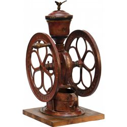 "Early Cast-Iron ""Elgin National Coffee Mill"" 2-Wheel Co"