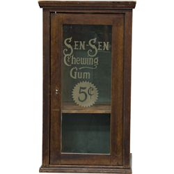 "Early ""SEN-SEN Chewing Gum"" Wood & Etched Glass Country"