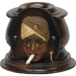 Vintage Wooden Swami Face Figure Cigarette Dispenser