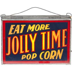 "Vintage ""Eat More JOLLY TIME Popcorn"" Metal & Glass"