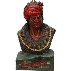 Red Indian Tobacco Plaster Figural Indian Bust Cigar S