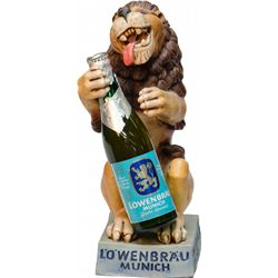 "Lowenbrau Munich Sitting Lion w/Beer Bottle Display, ""M"