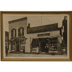 Early Black & White Photo - Cigar Store Featuring Cigar