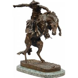 Broncho Buster Cowboy On Horse Bronze Figural Statue
