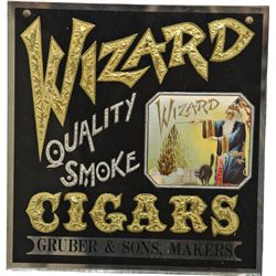 Wizard Cigars Reverse On Glass Advertisement Sign