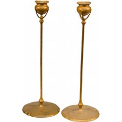 Pair of Tiffany Studios Bronze Candlesticks