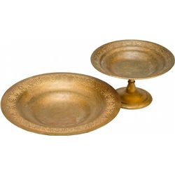 Lot of 2 Tiffany Studios Bronze Compotes w/Varying Desi