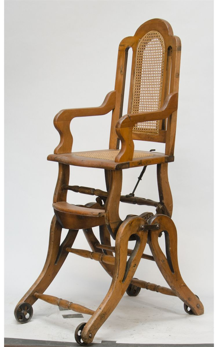 Image 1  Antique Wooden Combination Babyu0027s High Chair/Rocker  sc 1 st  iCollector.com & Antique Wooden Combination Babyu0027s High Chair/Rocker