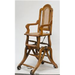 Antique Wooden Combination Baby's High Chair/Rocker