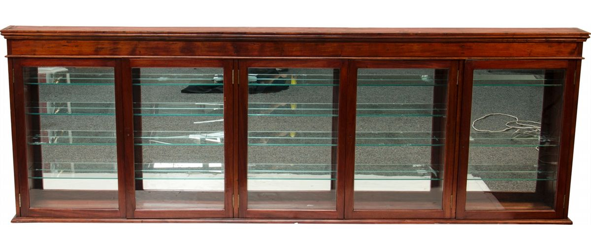 Image 1 Large Wood Gl Wall Display Cabinet