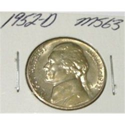 1952-D JEFFERSON NICKEL KEY DATE RED BOOK VALUE IS $6.00 *RARE MS-63 HIGH GRADE*!!