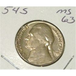 1954-S JEFFERSON NICKEL RED BOOK VALUE IS $2.50 *RARE MS-63 HIGH GRADE*!!
